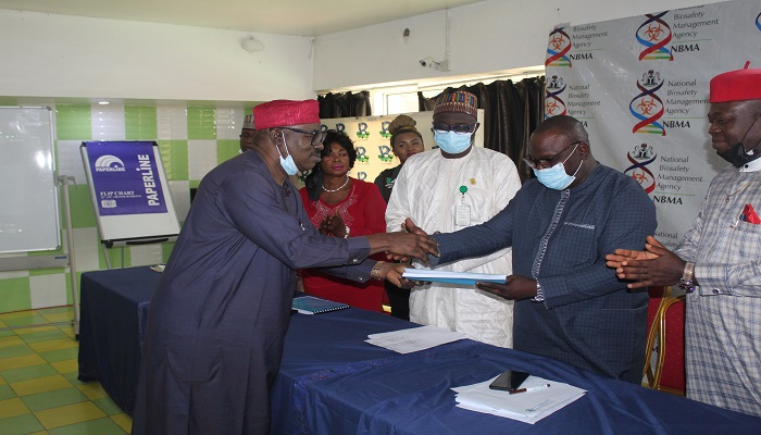 NBMA PRESENTS ADOPTED DRAFT NATIONAL BIOSECURITY POLICY TO MINISTER OF STATE FOR ENVIRONMENT.